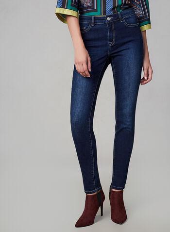 Jeans sculptant à jambe étroite, Bleu, hi-res,  jean, sculptant, jambe étroite, 5 poches, automne hiver 2019