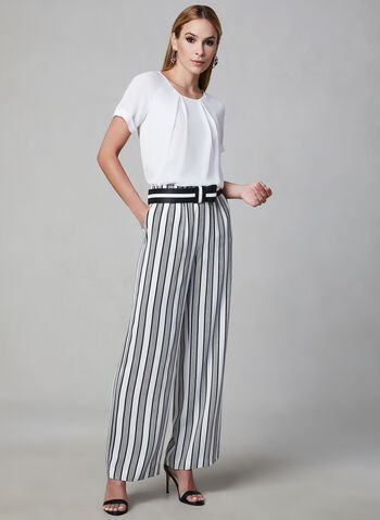 Linea Domani - Stripe Print Pants, Black, hi-res