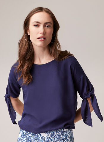 Linen Blend Knotted Sleeve Blouse, Blue,  top, blouse, short sleeves, knot, slit, linen, high low, boat neck, button detail, tortoiseshell, spring summer 2020