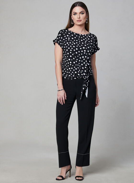 Polka Dot Print Tie Detail Top, Black, hi-res
