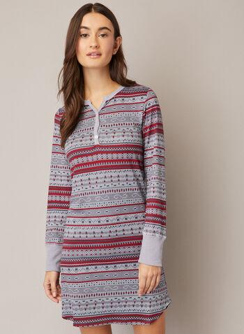 Chemise de nuit à motif hivernal, Rouge,  automne hiver 2020, pyjama, chemise de nuit, robe de nuit