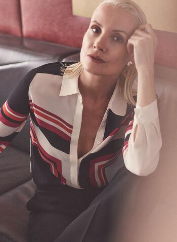 Blouse à motif géométrique , Rouge,  haut, blouse, manches longues, motif géométrique, printemps été 2021