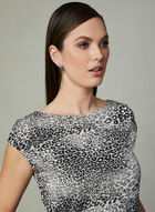 Leopard Print Boat Neck Top, Grey, hi-res