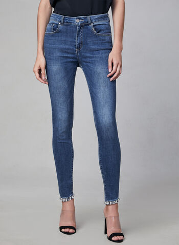 Frank Lyman - Pearl Detail Jeans, Blue,  fall winter 2019, denim, jeans, angle length, stretchy, crystal details