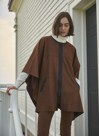 Front Zipper Faux Suede Cape, Beige,  fall winter 2020, cape, poncho, suede, coat, draped