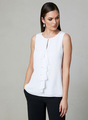 Ruffle Crepe Top, Off White, hi-res,