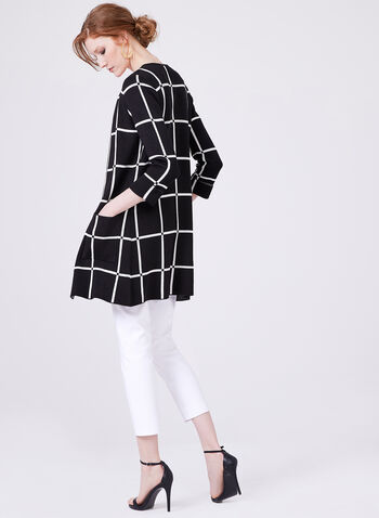 Long Open Front Grid Print Knit Cardigan, Black, hi-res