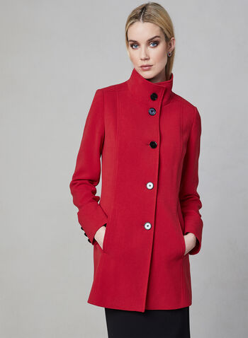 Nuage - Standing Collar Coat, Red, hi-res,  coat, long sleeves, button, spring 2019