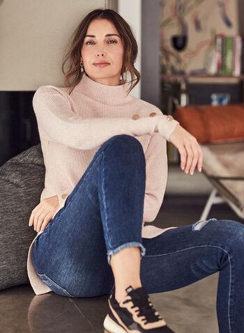 Pull tunique à col montant, Rose,  automne hiver 2020, pull, tunique, tricot, texturé, manches longues, col montant
