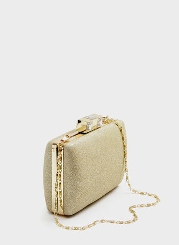 Crystal Cube Clasp Glitter Clutch, Gold, hi-res