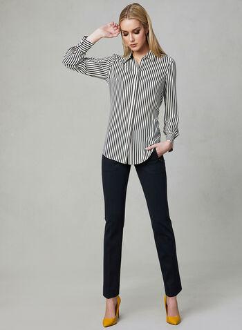 Stripe Print Blouse, White, hi-res