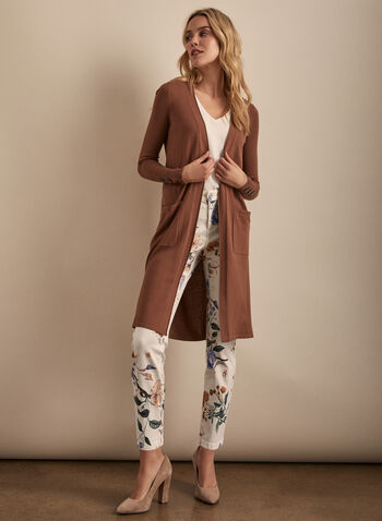 Long Open Front Cardigan, Brown,  spring summer 2020, long sleeves, knit, button details, duster, long