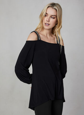 Cold Shoulder Top, Black, hi-res,  Canada, top, cold shoulder, long sleeves, fall 2019, winter 2019