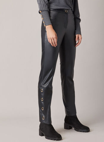 Vegan Leather Slim Leg Pants, Black,  pants, slim leg, faux leather, vegan leather, ring snap, pockets, fall winter 2020