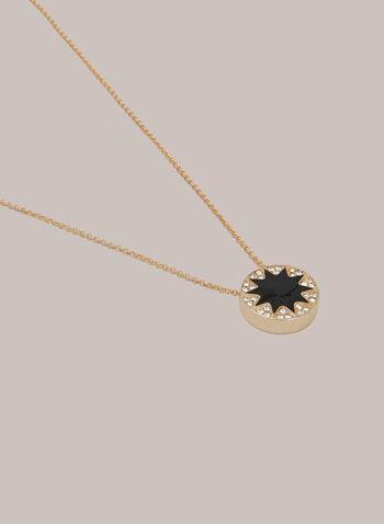 Collier à pendentif étoilé et cristaux, Noir,  automne hiver 2020, collier, bijou, doré, accessoire, pendentif, cristaux, métal, chaîne