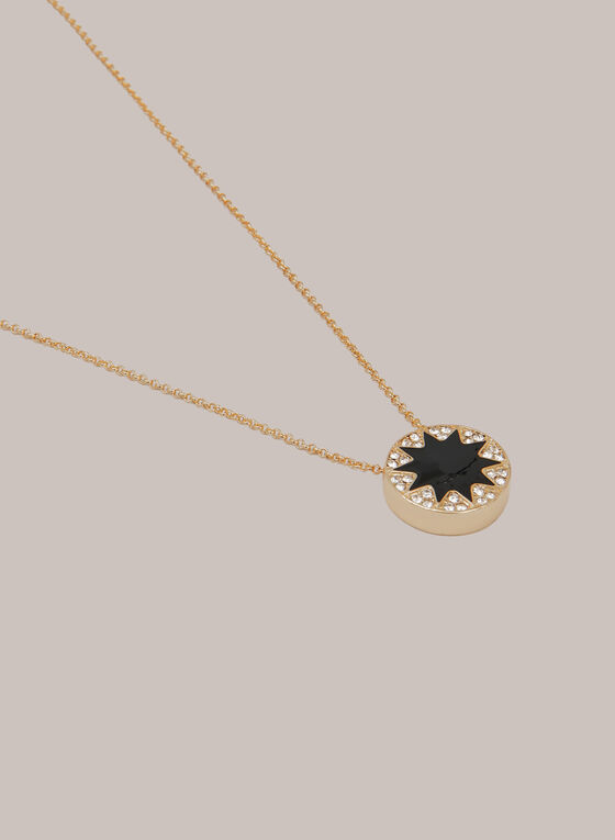Star Pendant Necklace, Black