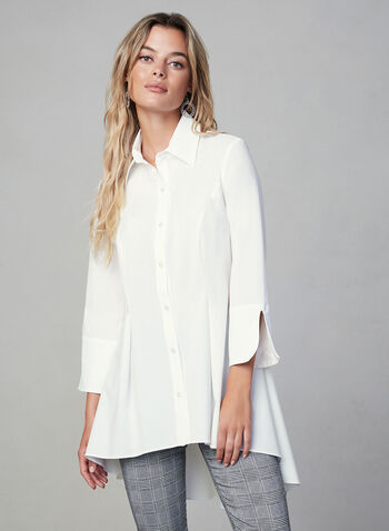 Joseph Ribkoff - Peplum Hem Button Down, White, hi-res,  fall winter 2019, 3/4 sleeves, high-low hem, peplum hem, button down