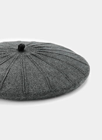 Contrast Stitch Knit Beret, Grey, hi-res