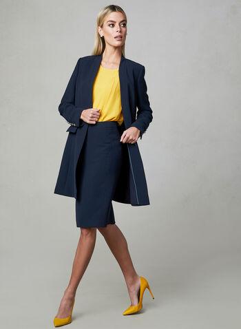 Open Front Redingote Jacket, Blue, hi-res,