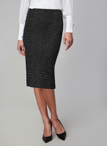 Crocodile Print Skirt, Black, hi-res,  Canada, crocodile print, jacquard knit, skirt, fall 2019, winter 2019