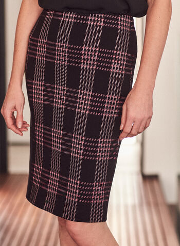 Plaid Print Pencil Skirt, Black,  skirt, pencil skirt, plaid print, print skirt, pull-on, spring 2020, spring summer 2021