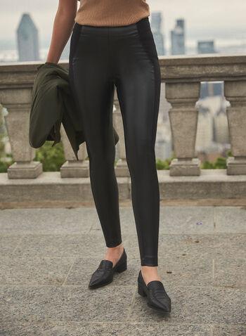 Kayla Vegan Leather Leggings, Black,  leggings, pants, faux leather, Ponte de Roma, pull on, fall winter 2021