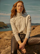 Mock Neck Cable Knit Sweater, Off White