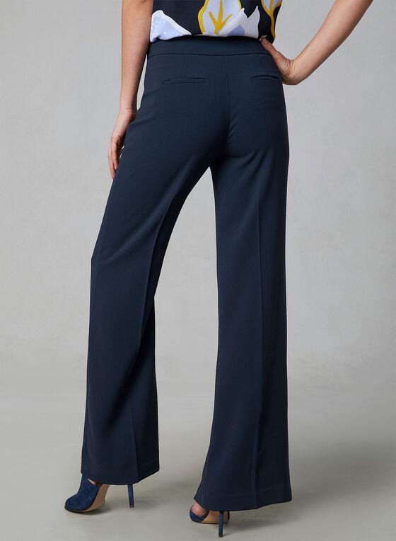 Pantalon en crêpe à jambe large et détails boutons, Bleu, hi-res