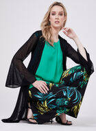 ¾ Bell Sleeve Cardigan With Side Slits, Black, hi-res