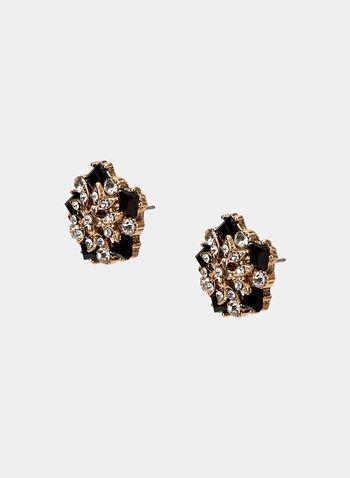 Clous d'oreilles à fleurs et strass, Or, hi-res