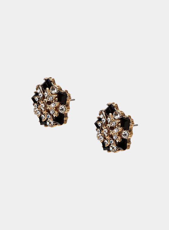 Floral Stud Earrings, Gold, hi-res