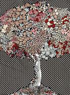 Foulard carré de soie imprimé arbre, Noir, hi-res