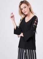 Laced Bell Sleeve Top, Black, hi-res