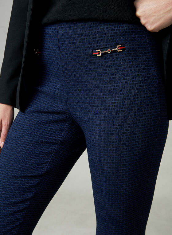 Jacquard Slim Leg Pants, Blue, hi-res