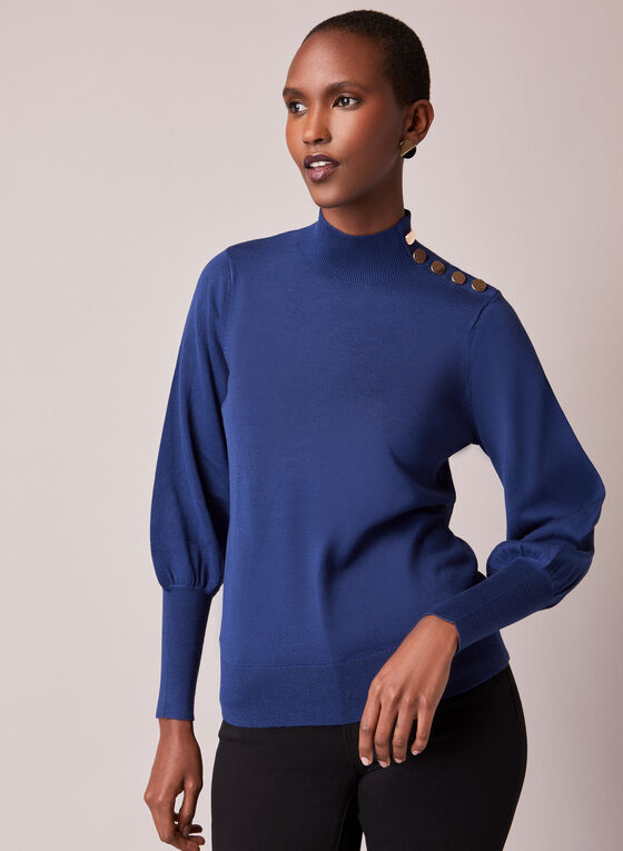 Button Detail Ruched Sleeve Sweater, Blue