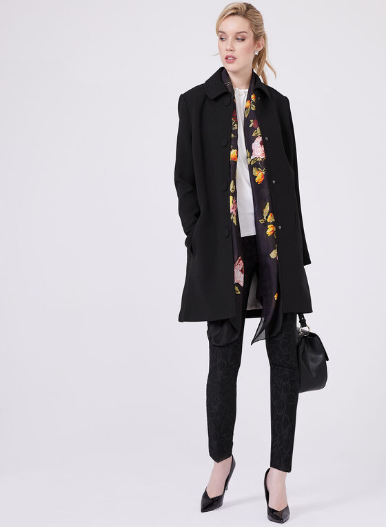 Nuage – Three Quarter Gabardine Coat, Black, hi-res