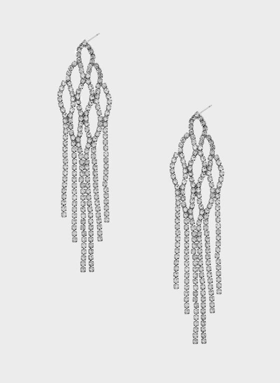 Crystal Encrusted Chandelier Earrings, Silver, hi-res