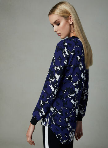 Abstract Print Crepe Tunic, Blue, hi-res