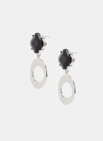 Abstract Pendant Earrings, Black, hi-res