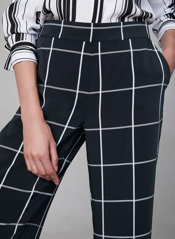 Pantalon carreauté à jambe large, Noir