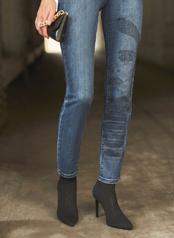 Joseph Ribkoff - Embellished Straight Leg Jeans, Blue,  fall winter 2021, jeans, denim, pants, bottoms, straight leg, Joseph Ribkoff, Frank Lyman, rhinestone, embellished, crystal, stretch