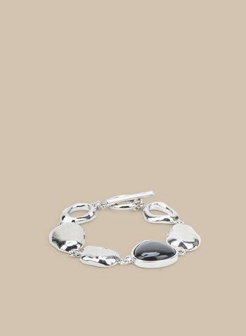 Ring Link Bracelet, Black,  bracelet, link bracelet, resin bracelet, metallic bracelet, spring 2020, summer 2020