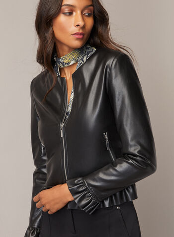 Vegan Leather Jacket, Black,  jacket, vegan leather, zipper, pockets, long sleeves, fall winter 2020