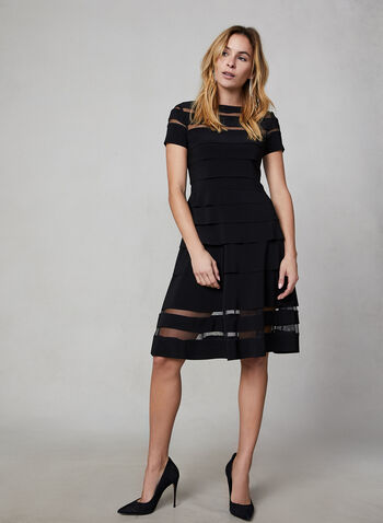 Joseph Ribkoff - Multi-Tiered Dress, Black,  canada, little black dress, dress, short sleeves, net, jersey dress, jersey, a-line dress, fall 2019, winter 2019, holiday
