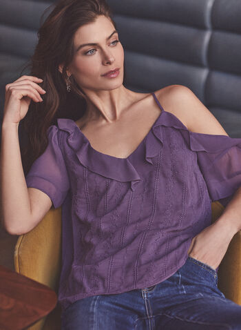 Vince Camuto - One-Shoulder Ruffle Detail Blouse, Purple,  top, blouse, ruffle, one shoulder, spaghetti strap, chiffon, floral, spring summer 2021
