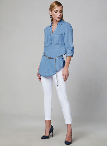 Long Sleeve Denim Shirt, Blue, hi-res,  denim, long sleeves, shirt collar, spring 2019