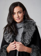 Faux Fur Ruana, Black