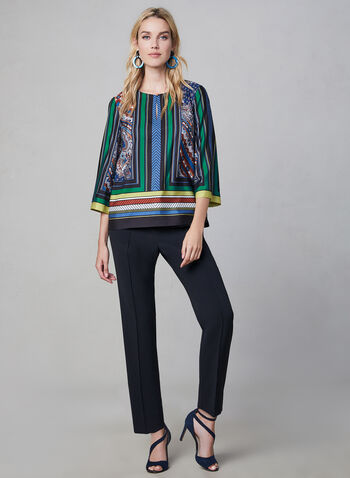 3/4 Sleeve Kimono Top, Blue,  Fall winter 2019, blouse, top, satin, kimono, 3/4 sleeves