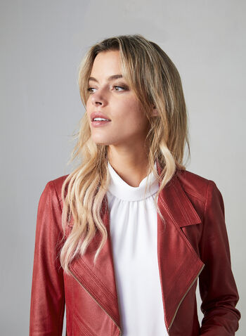 Vex - Faux Leather Jacket With Zipper Trim, Red, hi-res,  notch collar, leather, sip details, long sleeves, open jacket, fall 2019, winter 2019