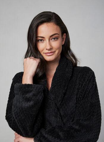 Robe de chambre en fanelle, Noir, hi-res,  robe de chambre, pyjama, flanelle, manches longues, ceinture, automne hiver 2019